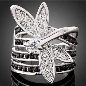 Dragonfly CZ &Black CZ Silvertone Statement Ring
